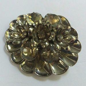 Rhinestone Flower Silver Brooch Made by Jordan